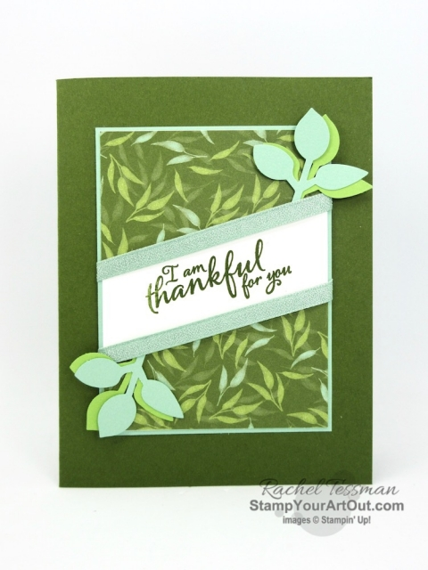 Nick is so thankful to everyone helping him earn towards his January 2020 Disney World Jazz Band trip. Click here to see his first set of thank you cards AND to get the details for recreating this this card using the Garden Lane Designer Paper, Leaf Punch, Mint Macaron Textile Ribbon and Painted Harvest Stamp Set! #stampyourartout #stampinup - Stampin' Up!® - Stamp Your Art Out! www.stampyourartout.com