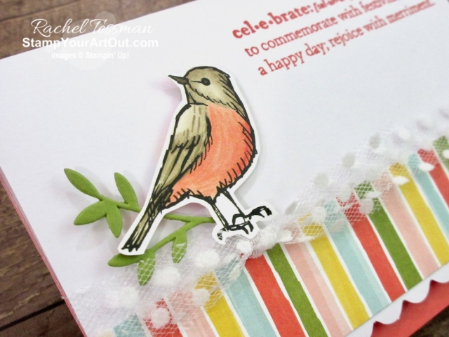 I love the unique sentiments that come in the Praiseworthy Prose Stamp Set. Click here to see how I used these sentiments, bird images and striped strips from the Bird Ballad Designer Paper, the Polka Dot Tulle Ribbon, and the colorful Scalloped Note Cards. I've included directions, measurements and supplies linked to my online store. #stampyourartout #stampinup - Stampin' Up!® - Stamp Your Art Out! www.stampyourartout.com