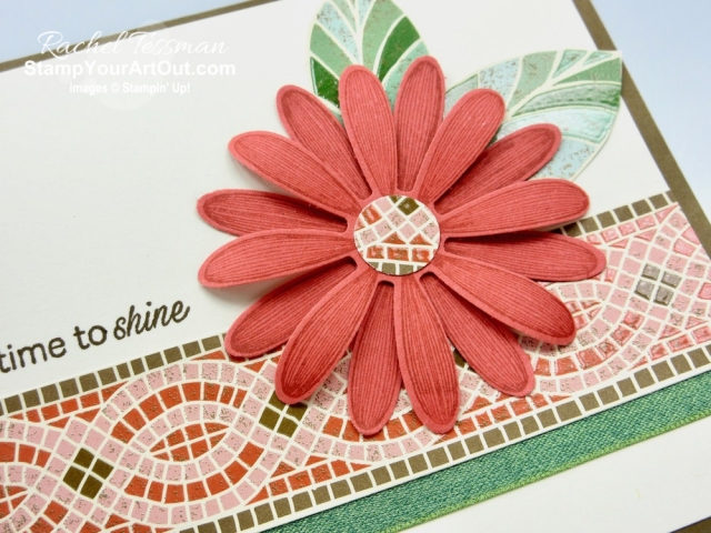The Mosaic Mood Designer Paper is unique and so spectacular in person. Click here to see how I used this glossy accented paper, the Daisy Lane Stamp, and the Daisy Punch to make this pretty congratulatory card. I've included directions, measurements and supplies linked to my online store. #stampyourartout #stampinup - Stampin' Up!® - Stamp Your Art Out! www.stampyourartout.com