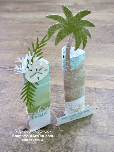 "Click here to see & get details about how to make beach party favors (tall triangle Hershey's Kiss holders and simple envelope treat holders) using the contents of the June 2019 A Little Smile Paper Pumpkin Kit. Plus you can see several other alternate project ideas created with this kit in our blog hop: ""A Paper Pumpkin Thing""! #onestopbox #stampyourartout #stampinup - Stampin' Up!® - Stamp Your Art Out! www.stampyourartout.com"