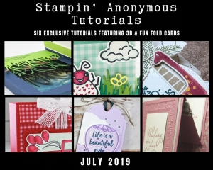 "Stampin' Anonymous Tutorials contain 6 EXCLUSIVE ""better than flat"" projects (fun fold cards or 3-D items) created by myself and 5 other talented Stampin' Up! demonstrators. Place an order in the month of July, and get this bundle for free! Or choose the option to purchase any of the bundles for just $9.95. #stampyourartout #stampinup - Stampin' Up!® - Stamp Your Art Out! www.stampyourartout.com"