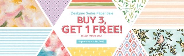 Buy 3, Get 1 Free Designer Series Paper Sale – September 2019. #stampyourartout #stampinup - Stampin' Up!® - Stamp Your Art Out! www.stampyourartout.com