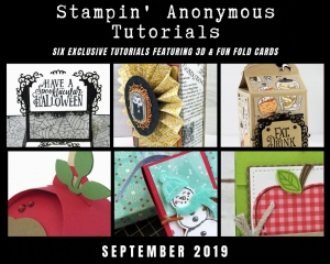 "Stampin' Anonymous Tutorials contain 6 EXCLUSIVE ""better than flat"" projects (fun fold cards or 3-D items) created by myself and 5 other talented Stampin' Up! demonstrators. Place an order in the month of September, and get this bundle for free! Or choose the option to purchase any of the bundles for just $9.95. #stampyourartout #stampinup - Stampin' Up!® - Stamp Your Art Out! www.stampyourartout.com"