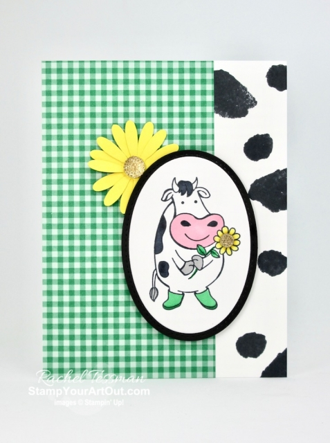 I've made three cute coordinating cards with the Over the Moon Stamp Set. These cow images and humorous sentiments make this a must have set. And when paired with the splotch images from the Love What You Do Stamp Set, you can even have a Holstein coat background! Click here to get measurements, directions, and a supply list linked to my online store. #stampyourartout #stampinup - Stampin' Up!® - Stamp Your Art Out! www.stampyourartout.com
