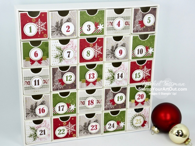 Greek Isles Achievers Blog Hop August 2019: New 2019 Holiday Catalog Products! The Countdown to Christmas project kit is very versatile. Click here for more creative ways to use this set of drawers, to see this beautiful kit put together, to see my Halloween take on it, and…to get the directions, measurements and supplies. #stampyourartout #stampinup - Stampin' Up!® - Stamp Your Art Out! www.stampyourartout.com