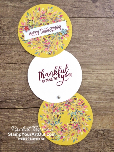 "Click here to see & get details for three projects I made with the August 2019 The Gift of Fall Paper Pumpkin Kit: a mini circle card, a shirt bag, and thanksgiving ""thankful for you"" notes. Plus you can see several other alternate project ideas created with this kit in our blog hop: ""A Paper Pumpkin Thing""! #onestopbox #stampyourartout #stampinup - Stampin' Up!® - Stamp Your Art Out! www.stampyourartout.com"