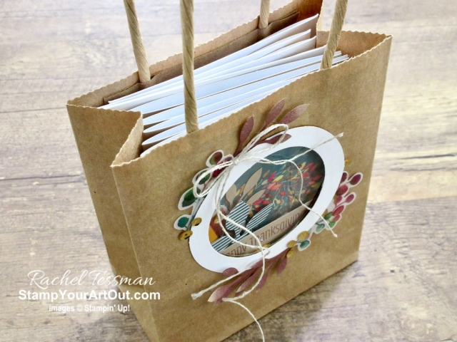 I'm excited to share with you what I created with the August 2019 The Gift of Fall Paper Pumpkin Kit: a treat bag with window, a beautiful 12x12 scrapbook page layout, two cards, and a couple puppets. Click here for photos of all these projects, a video with directions, measurements and tips for making them, and a complete product list linked to my online store!  #onestopbox #stampyourartout #stampinup - Stampin' Up!® - Stamp Your Art Out! www.stampyourartout.com