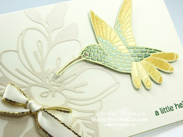 The Shimmer Detailed Laser-Cut Paper is a must-have! You can use as a layer, an accent, a frame or an embellishment on your cards and other paper crafting projects. Click here to see several versions of the same card I made with this fun paper, the Mosaic Mood Designer Paper, the Gold Metallic-Edge Ribbon, and a sentiment from the Itty Bitty Greetings Stamp Set. Access directions, measurements and a list of supplies I used linked to my online store. #stampyourartout #stampinup - Stampin' Up!® - Stamp Your Art Out! www.stampyourartout.com