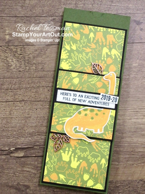 School is starting soon! Send them back with a fun and festive box of pencils. I decorated mine with the Dinoroar Designer paper, images from the Royal Peacock and the Make A Difference stamp sets, and some Leaves Trinkets. Click here for directions, measurements, tips, and a list of products I used linked to my online store. #stampyourartout #stampinup - Stampin' Up!® - Stamp Your Art Out! www.stampyourartout.com