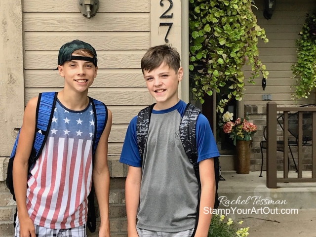 The boys are off for their first day of school 2019! Nick is in 8th and Luke is in 7th already. Time flies. Stamp Your Art Out!