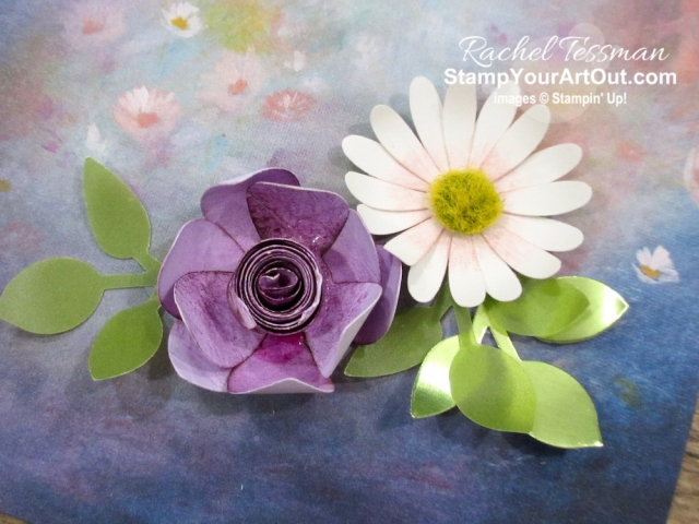 The Perennial Essence Designer Paper is filled with impressionistic painted floral images – perfect for just hanging on the wall as is. Coordinating 3-D paper flowers adds even more. Click here for more details and a list of products I used to make my flowers. #stampyourartout #stampinup - Stampin' Up!® - Stamp Your Art Out! www.stampyourartout.com