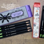 "I made more pencil boxes. This time I made them with products from our Monster Bash Suite. Oh! And that spider?...It's made with the 1"" Circle Punch and the Daisy Punch. Click here for more details and a list of products I used to make my spiders. - Stampin' Up!® - Stamp Your Art Out! www.stampyourartout.com"