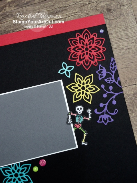 """Click here to see & get details for this Day of the Dead scrapbook page I made with the September 2019 Bone Appétit Paper Pumpkin Kit. Plus you can see several other alternate project ideas created with this kit in our blog hop: """"A Paper Pumpkin Thing""""! - Stampin' Up!® - Stamp Your Art Out! www.stampyourartout.com"""