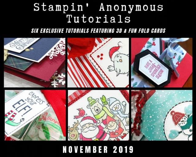 Stampin' Anonymous Tutorials contain 6 EXCLUSIVE 'better than flat' projects (fun fold cards or 3-D items) created by myself and 5 other talented Stampin' Up! demonstrators. Place an order in the month of November, and get this bundle for free! Or choose the option to purchase any of the bundles for just $9.95. - Stampin' Up!® - Stamp Your Art Out! www.stampyourartout.com
