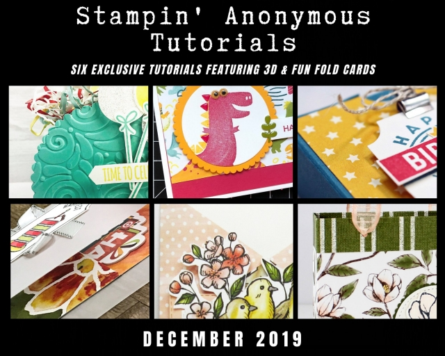 "Stampin' Anonymous Tutorials contain 6 EXCLUSIVE ""better than flat"" projects (fun fold cards or 3-D items) created by me and 5 other talented Stampin' Up! demonstrators. Place an order in the month of December, and get this bundle for free! Or choose the option to purchase any of the bundles for just $9.95. - Stampin' Up!® - Stamp Your Art Out! www.stampyourartout.com"