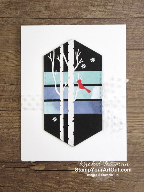 Click here for directions, measurements and supplies AND to see more photos of this pretty all-occasion card I created with the October 2019 Winter Woods Paper Pumpkin kit (the one I designed to send to a few of my Paper Pumpkin subscribers). - Stampin' Up!® - Stamp Your Art Out! www.stampyourartout.com