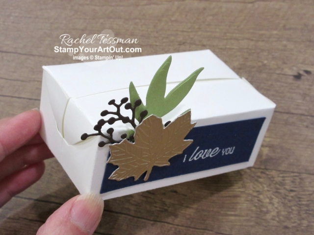 Here is a precious box made with the Perfect Parcel Box die. Access measurements, a how-to video for this box, and a list of supplies I used linked to my online store.- Stampin' Up!® - Stamp Your Art Out! www.stampyourartout.com