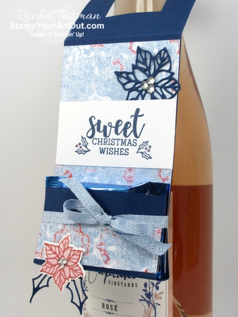 "Click here to see how to make a wine bottle tag with a folded up ""temporary"" pocket to hold Ghirardelli chocolate squares. I used the Cup of Christmas Stamp Set, the coordinating Cup of Cheer Dies, the Woven Threads Designer Paper, and the Seaside Spray Metallic Ribbon. And I shared a fun way to ""color"" with Wink of Stella! You'll be able to watch my video so you can see all my tips and tricks and get the step-by-step directions. You'll also be able to access measurements, see other close-up photos, and get links to all the products I used. - Stampin' Up!® - Stamp Your Art Out! www.stampyourartout.com"