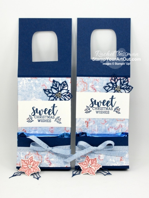 """Click here to see how to make a wine bottle tag with a folded up """"temporary"""" pocket to hold Ghirardelli chocolate squares. I used the Cup of Christmas Stamp Set, the coordinating Cup of Cheer Dies, the Woven Threads Designer Paper, and the Seaside Spray Metallic Ribbon. And I shared a fun way to """"color"""" with Wink of Stella! You'll be able to watch my video so you can see all my tips and tricks and get the step-by-step directions. You'll also be able to access measurements, see other close-up photos, and get links to all the products I used. - Stampin' Up!® - Stamp Your Art Out! www.stampyourartout.com"""