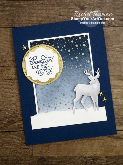 Such a stunning and easy-to-make Christmas card! I used the Most Wonderful Time Product Medley, the Stitched Shapes Framelits, the Everyday Label Punch, some Night of Navy & Whisper White Cardstock, the Night of Navy ink, and a sponge. Click here to get measurements, directions, and a list of supplies linked to my online store. - Stampin' Up!® - Stamp Your Art Out! www.stampyourartout.com