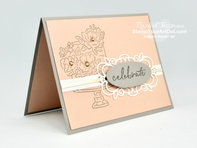 The Happy Birthday to You Stamp Set (free during Sale-a-Bration 2020) pairs well with the Detailed Bands Dies in this delicate Petal Pink, Gray Granite and Champagne card. Access measurements, directions, and a list of supplies I used linked to my online store. - Stampin' Up!® - Stamp Your Art Out! www.stampyourartout.com