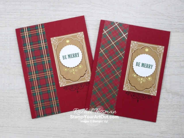I turned the supplies for 30 Christmas tags from the Joy of Giving Tag Kit into 50 quick to assemble Christmas cards. This is how I made my Christmas cards for the demonstrators in my Stampers With ART group! I just needed a few extra supplies like the Wrapped in Plaid Designer Paper, coordinating cardstock and inks, Gold Glitter Enamel Dots and envelopes. You'll be able to watch my video so you can see all my tips and tricks and get the step-by-step directions. You'll also be able to access measurements, see other close-up photos, and get links to all the products I used. - Stampin' Up!® - Stamp Your Art Out! www.stampyourartout.com