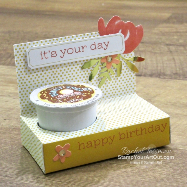 I'm excited to share with you what I created with the December 2019 Something for Everything Paper Pumpkin Kit: three K-Cup holders, a simple congratulations card, a flower pot card, a pyramid/teepee card, and a 12x12 scrapbook page. Click here for photos of all these projects, a video with directions, measurements and tips for making them, and a complete product list linked to my online store! - Stampin' Up!® - Stamp Your Art Out! www.stampyourartout.com