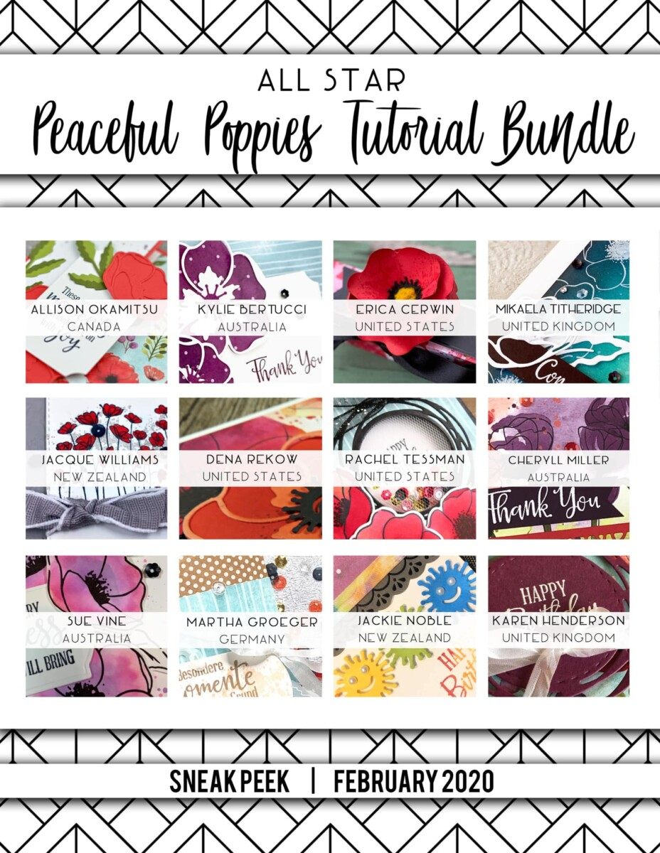 Here are the Peaceful Poppies All Star Tutorial Bundle Peeks. Place an order in the month of February 2020 and get this bundle of fabulous paper crafting project tutorials for free! Or purchase it for just $15. - Stampin' Up!® - Stamp Your Art Out! www.stampyourartout.com
