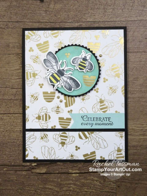 "Click here to see close-up photos cards featuring the ""spotlighting technique"" that I sent to my online club members using the new Honey Bee Stamp Set, Detailed Bees Dies, Golden Honey Designer Paper (free during Sale-a-Bration), and Blends Markers . Access measurements, directions, and a list of supplies I used linked to my online store. - Stampin' Up!® - Stamp Your Art Out! www.stampyourartout.com"