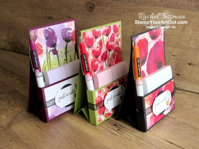 "Click here to see how to make an easy vertical, easel-style sticky note pad and pen holder using one sheet of 8-1/2"" x 11"" cardstock, strong adhesive, Peaceful Poppies Designer Paper, and images from the Music From the Heart Stamp Set. You'll also be able to access measurements and a link to a how-to video, see other close-up photos, and get links to all the products I used. - Stampin' Up!® - Stamp Your Art Out! www.stampyourartout.com"