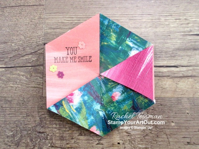 Click here to see how to make a never-ending Hexaflexagon card! In my version of this fun fold card, I feature a variety of products including the Well Said Stamp Set, Heartfelt Stamp Set, Lily Impressions Designer Paper, Flowering Foils Designer Paper, and Glitter Enamel Dots. You'll be able to access measurements, a how-to video, other close-up photos, and links to all the products I used in my multiple versions of this card. - Stampin' Up!® - Stamp Your Art Out! www.stampyourartout.com