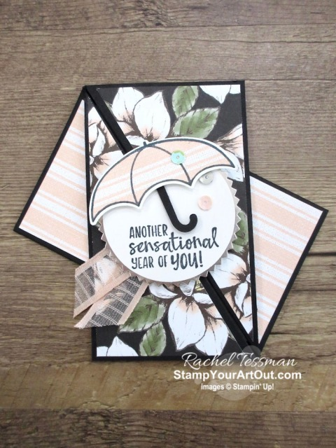 Click here to see some Twisted Gatefold cards that I made with the Magnolia Lane Designer Paper, Under My Umbrella Stamp Set, and Umbrella Builder Punch. You'll be able to access measurements, a how-to video with tips and tricks, other close-up photos, and links to all the products I used. - Stampin' Up!® - Stamp Your Art Out! www.stampyourartout.com