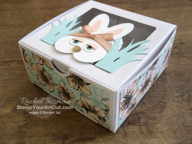 Click here to see some cute bunnies (inspired by a card I saw on Pinterest by Eva Dietz) that I made with the Catch of the Day Dies, the Stitched Shapes Dies, the Heart Punch, and various size circle punches. I mounted my bunnies each on Baker's Boxes that I decorated with designer series paper...two boxes with the Parisian Blossoms paper and one with the Ornate Garden paper which is debuting April 1. You'll be able to access measurements, a how-to video with tips and tricks, other close-up photos, and links to all the products I used. - Stampin' Up!® - Stamp Your Art Out! www.stampyourartout.com