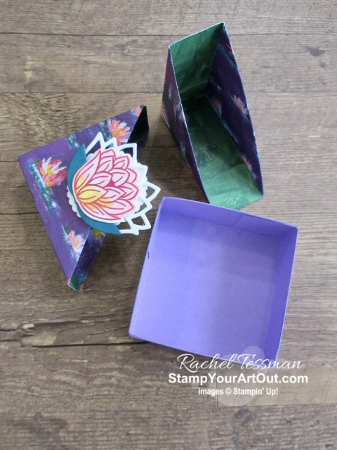 A smaller version of Paper Pixie's Diagonal-Lidded Gift Box using the Lily Impressions Designer Paper, Lovely Lily Pad Stamp Set, and the Lily Pad Dies. (Thanks Julie!) Click here to see the measurements, a supply list, and a link to Julie's video. - Stampin' Up!® - Stamp Your Art Out! www.stampyourartout.com