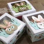 Click here to see some cute bunnies (inspired by a card I saw on Pinterest by Eva Dietz) that I made with the Catch of the Day Dies, the Stitched Shapes Dies, the Heart Punch, and various size circle punches. I mounted my bunnies each on Baker