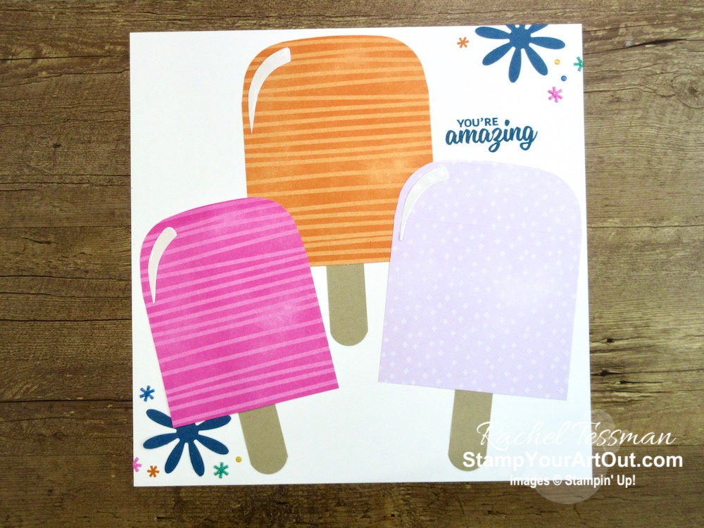 I'm excited to share with you what I created with the May 2020 A Kit In Color Paper Pumpkin Kit – a s'mores card, a pot of gold at the end of the rainbow card, a diagonal split card, a popsicle card, and a popsicle-themed 12x12 scrapbook page layout. Click here for photos of all these projects, a video with directions, measurements and tips for making them, and a complete product list linked to my online store! - Stampin' Up!® - Stamp Your Art Out! www.stampyourartout.com