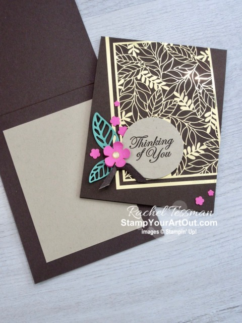 I'm excited to show you how to make a fun angled card layout with a combination of products and colors that really pop! I use the new Forever Gold Laser-Cut Paper, Magenta Madness & Just Jade Cardstock (new colors), sentiments from the Good Morning Magnolia Stamp Set, a couple Magnolia Memories dies, the Small Bloom Punch, and the New Confetti Flowers Border Punch ALL against an Early Espresso card base – amazing!! Click here to access measurements, a how-to video with tips and tricks, other close-up photos, and links to all the products I used. - Stampin' Up!® - Stamp Your Art Out! www.stampyourartout.com