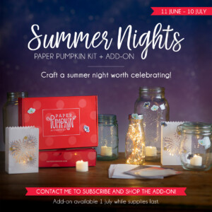 "Sign up by July 10th to get the next exclusive Paper Pumpkin Kit! The upcoming July 2020 Summer Nights Paper Pumpkin kit is filled with fireworks, fireflies, and fun! It includes supplies for nine postcard-style cards, coordinating envelopes, and die-cut tealight bags. Plus starting July 1st you'll have the option to purchase the Summer Nights Add-On which includes 24 4-1/4"" x 5-1/2"" card bases and envelopes in coordinating designs so you can use the leftover kit supplies and expand the creative experience! - Stampin' Up!® - Stamp Your Art Out! www.stampyourartout.com"