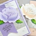 I'm excited to show you how to assemble the new Peony Dies so that your flower has a more realistic 3D appearance. Then I partner this flower with the Dainty Diamonds Embossing Folder embossed on foil and a few Elegant Faceted Gems to produce a very elegant card. Click here to access measurements, a how-to video with tips and tricks, other close-up photos, and links to all the products I used. - Stampin' Up!® - Stamp Your Art Out! www.stampyourartout.com