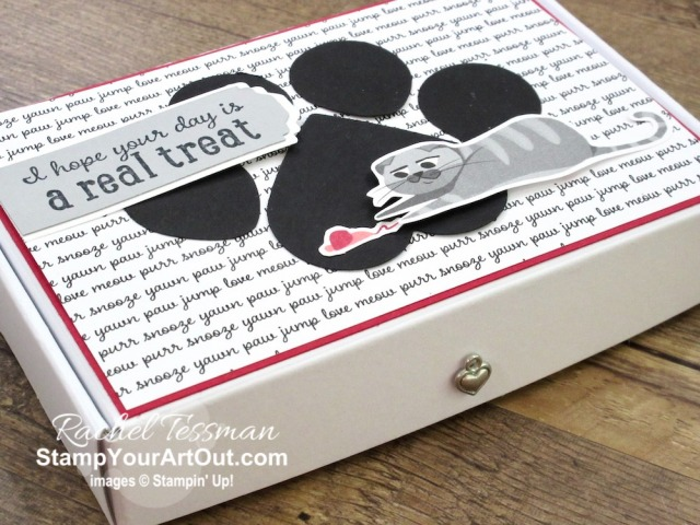 I made a couple cute pet-themed treat boxes using the Pampered Pets Stamp Set, Pets Dies, Playful Pets Designer Paper, Playful Pets Trinkets, the Balloon Bouquet Punch, the Heart Punch Pack, and the Lovely Label Pick a Punch. Click here to see photos, get measurements & directions, and shop for supplies from my online store so you can recreate them for yourself. - Stampin' Up!® - Stamp Your Art Out! www.stampyourartout.com