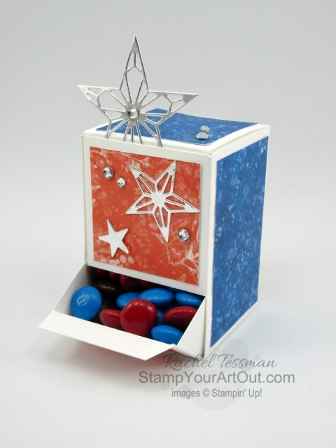 """Click here to see how I turned a 9"""" x 8-1/2"""" sheet of cardstock into an adorable 2"""" x 2"""" x 3"""" candy dispenser box. The four I share feature the Whale of a Time Designer Paper and some coordinating products. But you could really apply this box idea to so many other products. You'll be able to access measurements, a how-to video with tips and tricks, other close-up photos, and links to all the products I used. - Stampin' Up!® - Stamp Your Art Out! www.stampyourartout.com"""