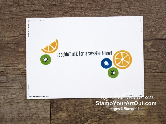 Quick and easy note cards that I made with the basics: stamps (Cute Fruit Stamp Set), ink, and paper! Click here to see photos of all four cards and get more information so you can recreate them yourself. - Stampin' Up!® - Stamp Your Art Out! www.stampyourartout.com